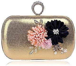 Shoulder Bag Women;S Polyester Evening Bag Flower for Event/Party Formal All Seasons Blue Gold Black Silver Red Handbag Clutch (Color : Gold)