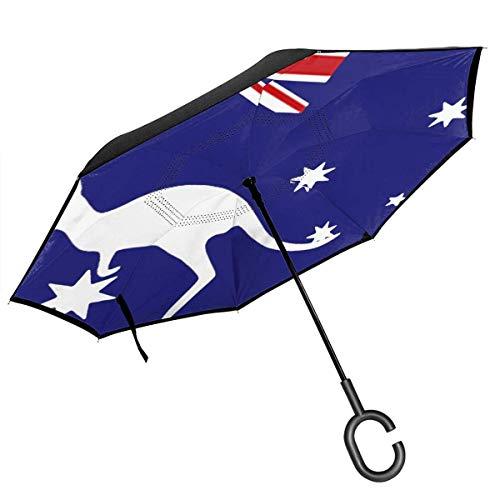 Großer, gerader Umkehrregenschirm mit umgedrehtem Regenschirm, 2-lagig, faltbar, Winddicht, UV-Schutz, tragbar, mit C-förmigem Griff in der australischen Flagge mit Känguru-Aufdruck