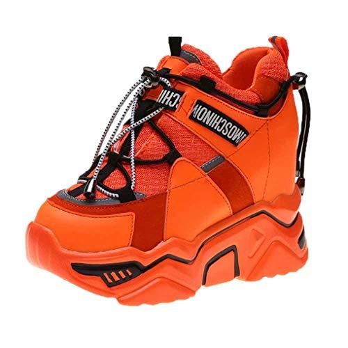 Zapatos de Plataforma para Mujer Malla Transpirable Color sólido Punta Redonda Zapatillas Altas Zapatillas para Caminar Casuales con cuña Oculta