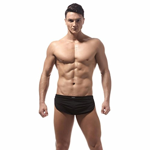 TUDUZ Herren Low-Rise Boxershorts Boxer Briefs Trunks Unterwäsche Shorts Bulge Pouch Unterhosen (Farbe wählbar) (Schwarz, M(Taille:66-73cm))