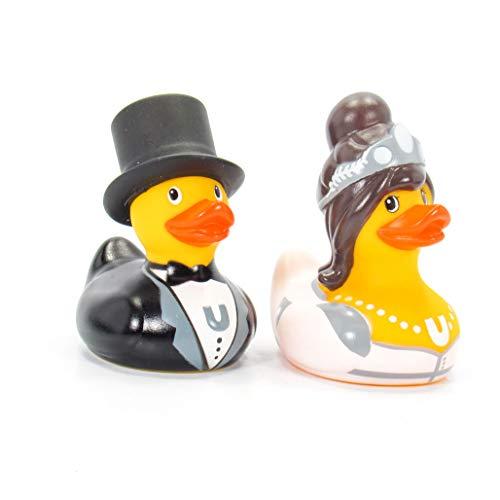 BUD1396   BUD Deluxe Mini Set Bruid & Bruidegom Badeendjes   6 cm - set van 2 ducks  I Do !    Bruidspaar Bride & Groom   Prachtig in 3D blisterverpakking zwart luxe   ean 8720053190023