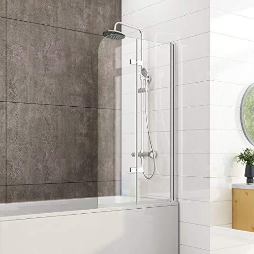 Heilmetz 120 x 140 cm Badewannen Duschwand Duschabtrennung Badewannenaufsatz Faltwand Duschtrennwand 6mm ESG Sicherheitsglas mit beidseitiger Nano Beschichtet