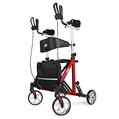 Zler Rolling Walkers for Seniors,Upright Walker with Seat and Big Wheels, Folding Walker Back Erect Rolling Mobility Walking Aid with Backrest Padded Armrests for Elderly, Seniors, Red by zler