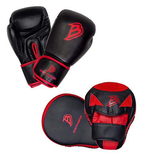 Boutmaster Youth Boxing Training Set, Kids or Teens Boxing Gloves and Boxing Pads Mitt Set (Small)