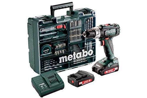 Metabo Akku Schlagbohrschrauber SB 18 L (2 Akkus 2,0 Ah, 18 V, Schlagschrauber mit Koffer + umfangreiches Zubehör-Set) 602317870, Schwarz/Grün