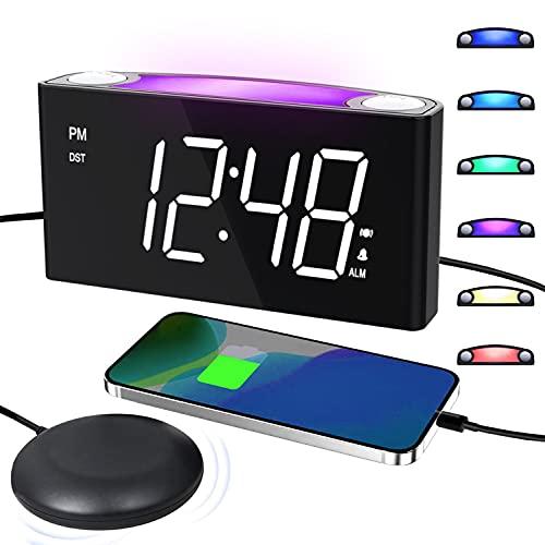 ROCAM Reloj Despertador Vibrador para Sordos, Pantalla LED Grande con Atenuador, Luz de 7 Colores, Puertos de Carga USB Dobles para Personas con Sueño Pesado , Mayores - Blanco
