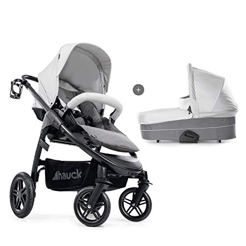 Hauck Saturn R Duoset All-Terrain Sportwagen + Beindecke + Babywanne, drehbar, bis 25 kg, Getränkehalter, höhenverstellbar, kompakt faltbar, kompatibel mit Babyschale, silber grau