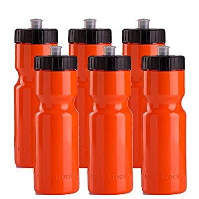 Sports Squeeze Water Bottles - Set of 6 - Team Pack – 22 oz. BPA Free Bottle Easy Open Push/Pull Cap – Made in USA - Multiple Colors Available (Orange/Black)