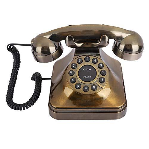 Hopcd Teléfonos Decorativos pasados de Moda Teléfono Fijo Antiguo de Bronce/Teléfono con Cable Retro Teléfono de Llamada para Oficina en casa