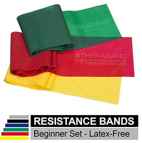 TheraBand Resistance Bands Set, Professional Non-Latex Elastic Band For Upper & Lower Body Exercise, Strength Training without Weights, Physical...