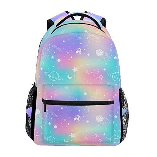 Mochila Escolar Sun Moon Star Galaxy Planet Rainbow Mochila De Viaje Impresa Mochila Escolar Mochila De Regalo Estudiante Universitario Computadora Portátil Libro Informal para Ni