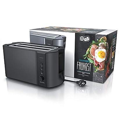 Arendo-Edelstahl-Toaster-Langschlitz-4-Scheiben-Defrost-Funktion-waermeisolierendes-Gehaeuse-mit-integrierten-Broetchenaufsatz-1500W-Kruemelschublade-Display-mit-Restzeitanzeige-Cool-Grey