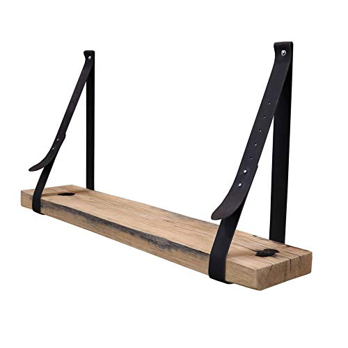 Steigerhoutpassie - Leren plankdrager - Zwart - Verstelbaar - Set - Eiken - Wagondeel Breed Geschaafd - 90cm