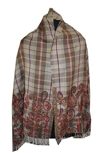 Tribal Asian Textiles Wende-Seide Pashmina-Schal Jamawar schillernde Seide, mehrfarbig