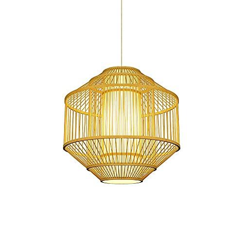 Xungzl Iluminación colgante de bambú con pantalla de pergamino de imitación, lámpara de ratán de doble capa de estilo japonés, lámpara de colgante del hogar del sudeste asiático, dispositivo de ilumin
