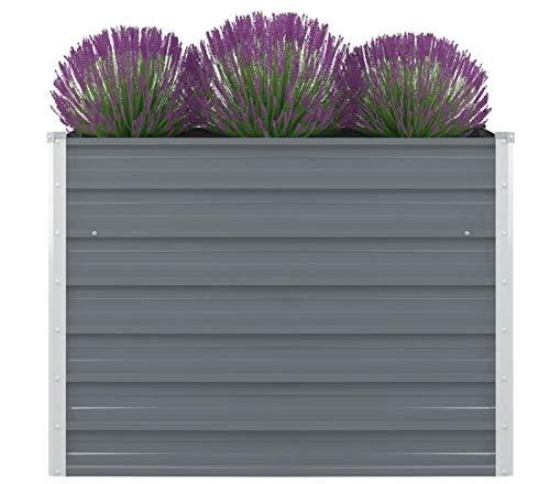 Pissente Jardinera alta, de acero galvanizado, para terraza y jardín, 100 x 100 x 77 cm (gris)
