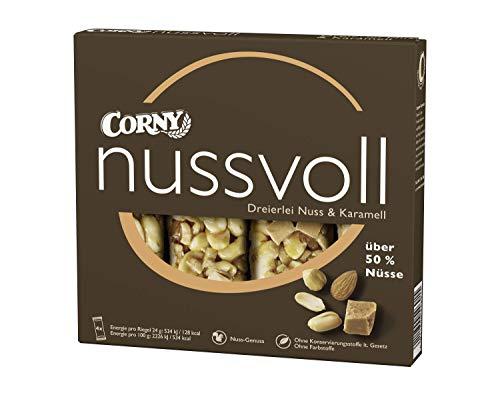 Corny Nussvoll Dreierlei Nuss und Karamell 4er, Nussriegel mit über 50{2bb2b023b87b57a3969923ffaa70e5df7e7168226942e3a99d40406370a6f661} Nüsse, 1 x 4 x 24g
