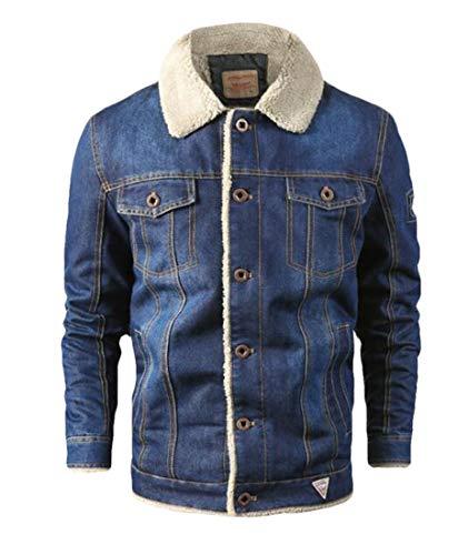 BLTR Men Large Size Bajar Collar Cardigan Chaqueta Denim Casual Fleece Two US 2XL