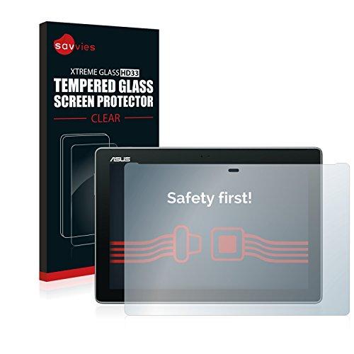 savvies Cristal Templado Compatible con ASUS ZenPad 10 Z300C / Z300CL / Z300M Protector Pantalla Vidrio Proteccion 9H Pelicula Anti-Huellas
