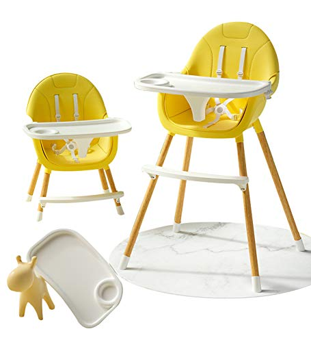 Silla De Comedor 3 En 1, Trona para Bebés, Silla De Asiento Multifuncional, Trona Convertible con Arnés para Bebés. Yellow