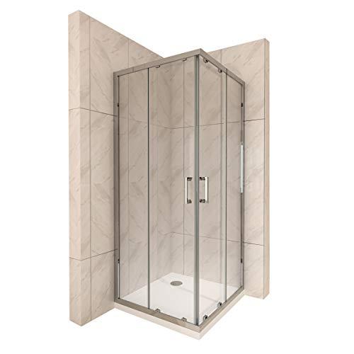 Duschkabine mit Schiebetüren Eckdusche mit Rollensystem aus ESG Glas 190cm Hoch - alle Größen (90x90cm) DK77