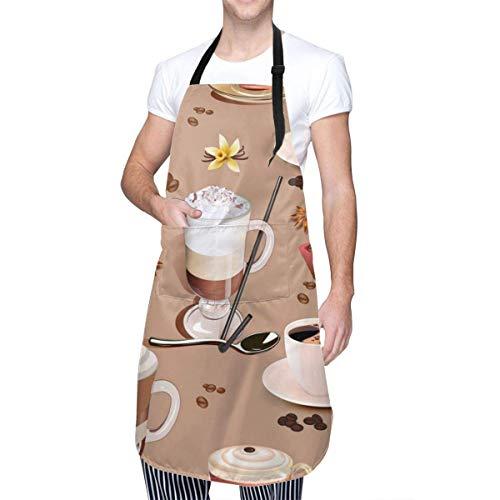 Tazas de café y Delantales con Babero Ajustable de Vainilla Delantales de Cocina de Chef Resistentes a Las Manchas de Aceite de Agua con Bolsillos para Hombres y Mujeres