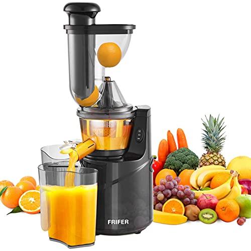 Licuadora Slow Juicer, licuadora de frutas y verduras con motor silencioso, fácil de limpiar, función inversa, separación del zumo y del pulpo, calibre grande de 90 mm, sin BPA, 150 W