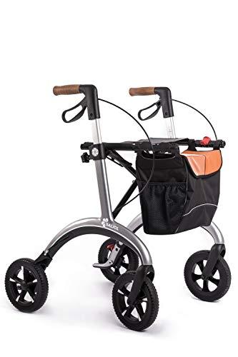 Carbon Rollwagen von Saljol, 5,8kg leichter faltbarer Rollator inkl. Stockhalter, zuschaltbare Schleifbremse zur Sturzprophylaxe, star silver
