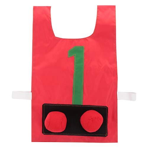 Abaodam Cmodo chaleco de bola pegajoso para ropa de pelotas, divertido juego de accesorios para disfraz de pelota (rojo de nmero)