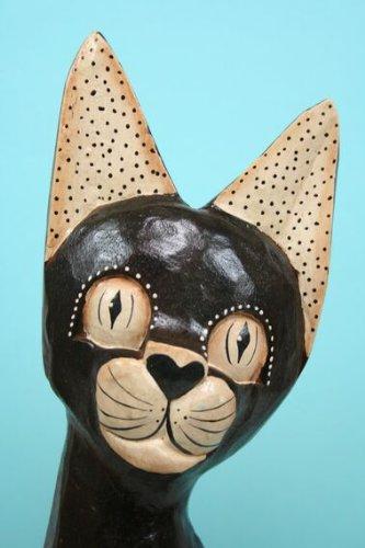 Hillfield Grosse edle Katze 40 cm Handarbeit EDLE Holz DEKO Kunsthandwerk aus Indonesien Dekoration