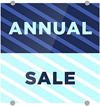 Stripes Blue Premium Acrylic Sign Annual Sale 16x16 CGSignLab