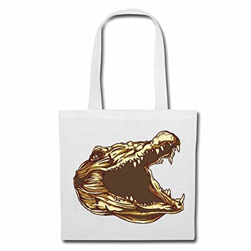 Tasche Umhängetasche KROKODIL Alligator KROKODILKOPF ALLIGATOREN KROKODILKOPF ALLIGATOREN Einkaufstasche Schulbeutel Turnbeutel in Weiß
