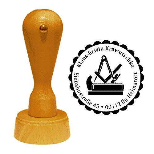 Stempel Adressstempel « TISCHLER » Durchmesser ca. Ø 40 mm - mit persönlicher Adresse, Motiv und Zierrand - Beruf Schreiner Zunft Zunftzeichen