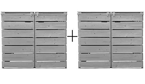 Fairpreis-design Mülltonnenbox Mülltonnenverkleidung 4 Tonnen Holz 120L - 240L hell-grau inkl. Rückwand vorimprägniert vormontiert Müllcontainer Mülltonne Mod.A