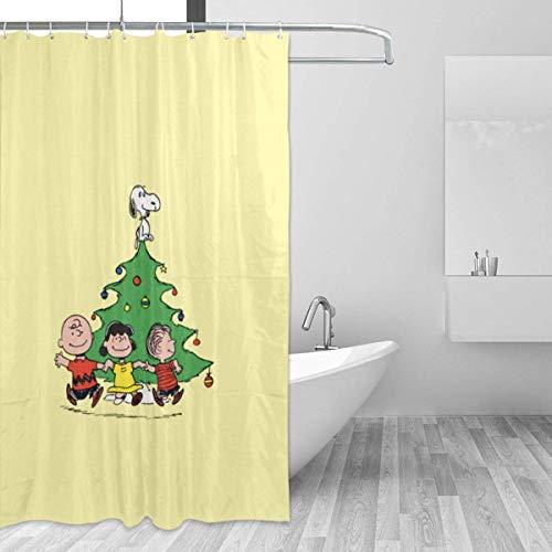 liangchunmei Badezimmer Duschvorhang Snoopy Marry Christmas Home Decor Duschvorhänge mit Haken 60 'X 72'