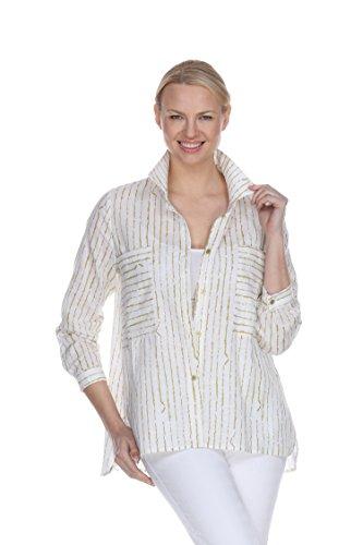 Terra-Sj Apparel Tops y Blusas para mujer, 100% algodón, manga 3/4, para mujer, con cuello convertible, M, T4155b/Lime
