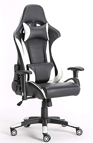 Requena Gaming Racing Sport Desk Chair Adjustable Office Computer Chair Lumbar and Head Pillow Chair X2566 (White)