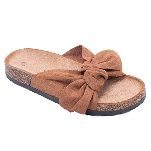 Primtex - Ciabatte da donna con fiocco anteriore, effetto camoscio, suola in sughero, (marrone), 39 EU