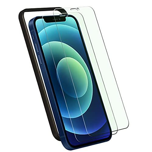 【ブルーライトカット】【ガイド枠付き】iPhone 12 / iPhone 12 Pro ガラスフィルム TopACE iPhone12/12 Pro フィルム 6.1インチ用 日本旭硝子製 強化ガラス 液晶保護フィルム【2枚パック】