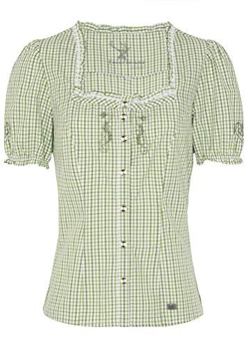 Spieth & Wensky Damen Trachtenbluse grün weiß kariert Kaprio Damenbluse Gr.40