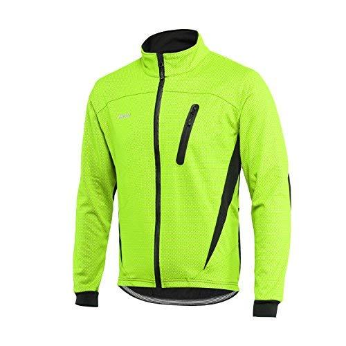 ARSUXEO Chaqueta de ciclismo para hombre impermeable reflectante abrigo térmico de invierno 16H Verde M