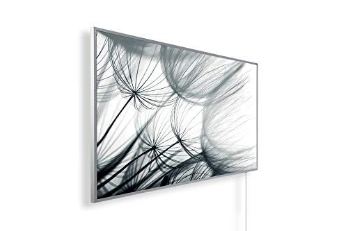 Könighaus Fern Infrarotheizung – Bildheizung in HD Qualität mit TÜV/GS - 200+ Bilder -600Watt - Patentiert -Weißer_Rahmen(181. Pusteblume) Black Edition