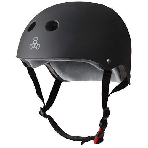 Triple Eight THE Certified Sweatsaver Helmet for Skateboarding, BMX, and Roller Skating, Black Rubber, Small / Medium