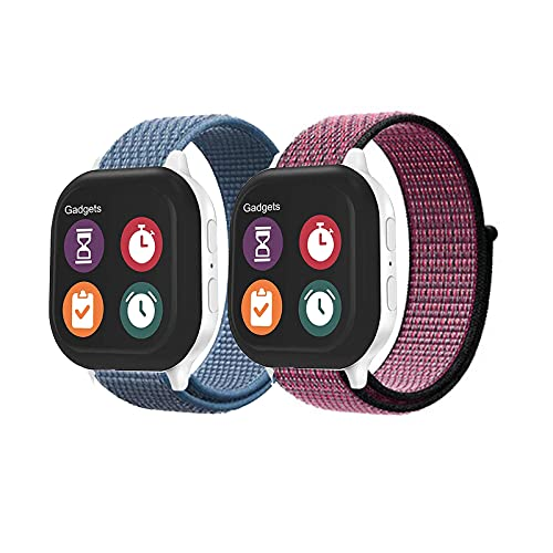 leQuiven Watch Band Compatible with Gizmo Watch 2/1/Disney, Nylon Kids Band Loop and Breathable Hook Replacement with Quick Release Pins, Adjustable 20mm Lightweight Sport Wrist Buddies Smartwatch