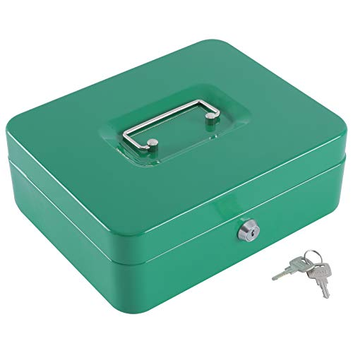 """KYODOLED Large Lock Box with Money Tray,Storage Cash Box with Lock,Safe Metal Box for Money,9.84""""x 7.87""""x 3.54"""" Green Large"""