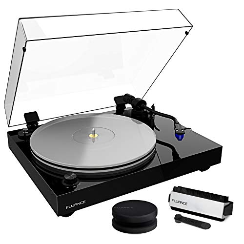 Fluance RT85 Reference High Fidelity Vinyl Turntable Record Player with Ortofon 2M Blue Cartridge, Acrylic Platter, Record Weight, 3 in 1 Stylus and Record Cleaning Vinyl Accessory Kit