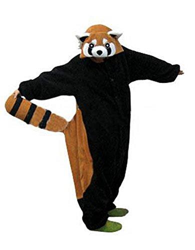 Canberries Damen Herren Jumpsuit Tier Onesie Einhorn Panda Pinguin Giraffe Pyjamas Jumpsuit Anime Cosplay Karneval Kostüm Schlafanzug Erwachsene (L, Waschbär)