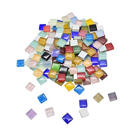 100g Mosaik Glas Mosaik Fliesen Mosaiksteine Set Vitreous Ceramic Mosaic Tiles Wand DIY Handwerk Art Crafts Mixes Optic Drops mit Kleber und Kunststoff Pinzette Geschenk f/ür Kinder Pack 1 x 1 cm