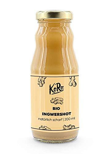 KoRo - Succo concentrato di zenzero bio 100% 200 ml, succo puro biologico, integratore naturale di vitamina B, vitamina C e vitamina E, senza zucchero e senza acqua