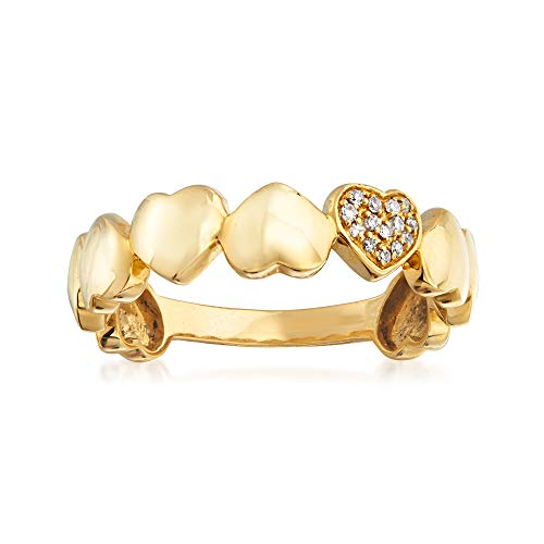 Ross-Simons 18kt Yellow Gold Multi-Heart Ring With Diamond Accents (0.04 Ct Tw Diamond)